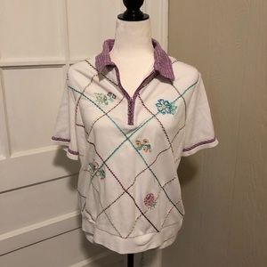 Vintage Zipper Front Collared Floral Shirt